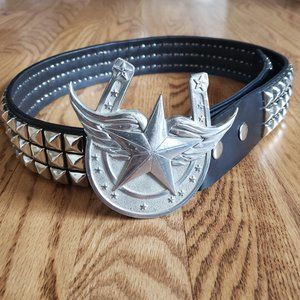 """Hot Topic 3 Pyramid Studded 30"""" Belt w/ Buckle"""